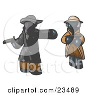 Clipart Illustration Of A Navy Blue Man Challenging Another Navy Blue Man To A Duel With Pistils