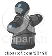 Clipart Illustration Of A Big Navy Blue Business Man In A Suit And Tie