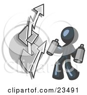 Clipart Illustration Of A Navy Blue Business Man Spray Painting A Graffiti Dollar Sign On A Wall