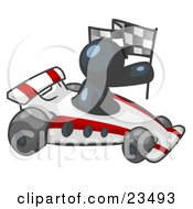 Clipart Illustration Of A Navy Blue Man Driving A Fast Race Car Past Flags While Racing