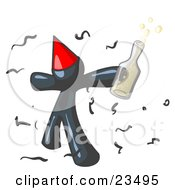 Happy Navy Blue Man Partying With A Party Hat Confetti And A Bottle Of Liquor