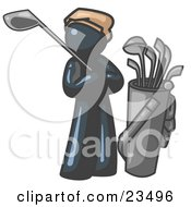 Clipart Illustration Of A Navy Blue Man Standing By His Golf Clubs