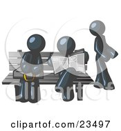 Clipart Illustration Of Navy Blue Men At A Bench At A Bus Stop