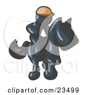 Clipart Illustration Of A Navy Blue Man A Jockey Riding On A Race Horse And Racing In A Derby