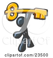 Clipart Illustration Of A Navy Blue Businessman Holding A Large Golden Skeleton Key Symbolizing Success