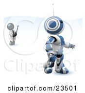 Clipart Illustration Of A Navy Blue Man Inventor Operating An Blue Robot With A Remote Control