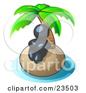 Clipart Illustration Of A Navy Blue Man Sitting All Alone With A Palm Tree On A Deserted Island