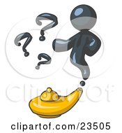 Navy Blue Genie Man Emerging From A Golden Lamp With Question Marks
