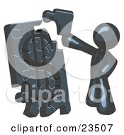 Clipart Illustration Of A Navy Blue Businessman Putting A Dollar Sign Puzzle Together by Leo Blanchette