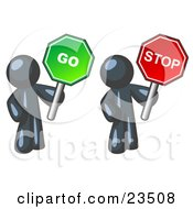 Clipart Illustration Of Navy Blue Men Holding Red And Green Stop And Go Signs by Leo Blanchette