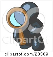 Clipart Illustration Of A Navy Blue Man Kneeling On One Knee To Look Closer At Something While Inspecting Or Investigating