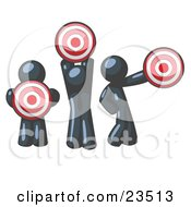 Clipart Illustration Of A Group Of Three Navy Blue Men Holding Red Targets In Different Positions