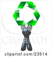 Clipart Illustration Of A Navy Blue Man Holding Up Three Green Arrows Forming A Triangle And Moving In A Clockwise Motion Symbolizing Renewable Energy And Recycling