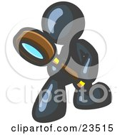 Clipart Illustration Of A Navy Blue Man Bending Over To Inspect Something Through A Magnifying Glass