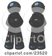 Clipart Illustration Of Two Navy Blue Men Standing With Their Arms Crossed Wearing Sunglasses And Black Suits by Leo Blanchette