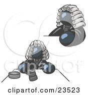 Clipart Illustration Of A Navy Blue Judge Man Wearing A Wig In Court