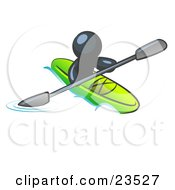 Clipart Illustration Of A Navy Blue Man Paddling Down A River In A Green Kayak