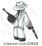 Clipart Illustration Of A Navy Blue Gangster Man Carrying A Gun And Leaning On A Cane