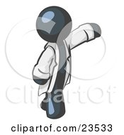 Clipart Illustration Of A Navy Blue Scientist Veterinarian Or Doctor Man Waving And Wearing A White Lab Coat