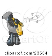 Clipart Illustration Of A Musical Navy Blue Man Playing Jazz With A Saxophone