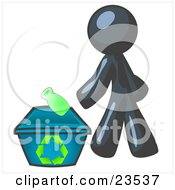 Clipart Illustration Of A Navy Blue Man Tossing A Plastic Container Into A Recycle Bin Symbolizing Someone Doing Their Part To Help The Environment And To Be Earth Friendly