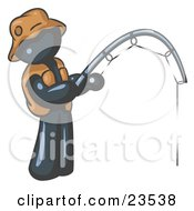 Clipart Illustration Of A Navy Blue Man Wearing A Hat And Vest And Holding A Fishing Pole by Leo Blanchette