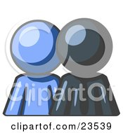 Clipart Illustration Of A Blue Person Standing Beside A Navy Blue Businessman Symbolizing Teamwork Or Mentoring