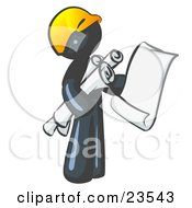 Navy Blue Man Contractor Or Architect Holding Rolled Blueprints And Designs And Wearing A Hardhat