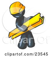 Clipart Illustration Of A Navy Blue Man Construction Worker Wearing A Hardhat And Carrying A Beam At A Work Site