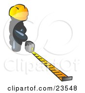 Clipart Illustration Of A Navy Blue Man Contractor Wearing A Hardhat Kneeling And Measuring
