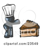 Clipart Illustration Of A Navy Blue Chef Man Wearing A White Hat And Presenting A Tasty Slice Of Chocolate Frosted Cake