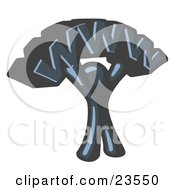 Clipart Illustration Of A Proud Navy Blue Business Man Holding WWW Over His Head by Leo Blanchette