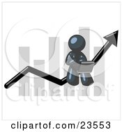 Clipart Illustration Of A Navy Blue Man Using A Laptop Computer Riding The Increasing Arrow Line On A Business Chart Graph