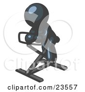 Clipart Illustration Of A Navy Blue Man Exercising On A Stationary Bicycle