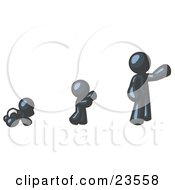 Clipart Illustration Of A Navy Blue Man In His Growth Stages Of Life As A Baby Child And Adult