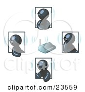 Clipart Illustration Of A Group Of Four Navy Blue Men Holding A Phone Meeting And Wearing Wireless Bluetooth Headsets
