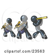 Clipart Illustration Of Three Navy Blue Men Playing Flutes And Drums At A Music Concert
