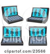 Clipart Illustration Of Four Laptop Computers With Three Navy Blue Men On Each Screen