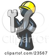 Poster, Art Print Of Proud Navy Blue Construction Worker Man In A Hardhat Holding A Wrench Clipart Illustration