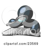 Clipart Illustration Of A Navy Blue Man Using A Magnifying Glass To Examine The Facts In The Daily Newspaper