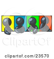 Clipart Illustration Of Four Navy Blue Men In Different Poses Against Colorful Backgrounds Perhaps During A Meeting