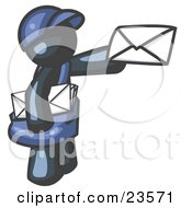 Clipart Illustration Of A Navy Blue Mail Man Delivering A Letter by Leo Blanchette