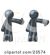 Clipart Illustration Of A Navy Blue Business Man Giving The Thumbs Up Then The Thumbs Down by Leo Blanchette