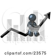 Clipart Illustration Of A Navy Blue Man Conducting Business On A Laptop Computer On An Arrow Moving Upwards In Front Of A Bar Graph Symbolizing Success