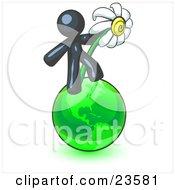 Navy Blue Man Standing On The Green Planet Earth And Holding A White Daisy Symbolizing Organics And Going Green For A Healthy Environment