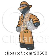 Clipart Illustration Of A Secretive Navy Blue Man In A Trench Coat And Hat Carrying A Box With A Question Mark On It