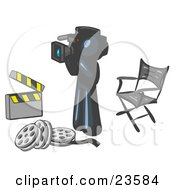 Clipart Illustration Of A Navy Blue Man Filming A Movie Scene With A Video Camera In A Studio