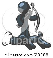 Clipart Illustration Of A Navy Blue Man A Hunter Holding A Bow And Arrow Over A Dead Buck Deer