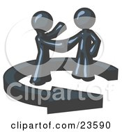 Poster, Art Print Of Navy Blue Salesman Shaking Hands With A Client While Making A Deal