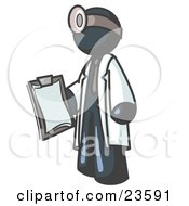 Navy Blue Male Doctor Holding A Clipboard And Wearing A Head Lamp